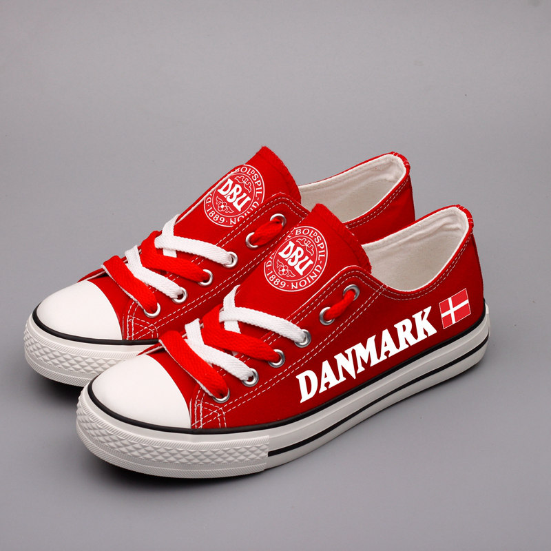 E-LOV New Design Danish Red Platform Shoes Custom Print Denmark Flag Men Espadrilles Low Top Casual Walking Flats Chaussure e lov design hand painted couples lovers canvas shoes custom women flats casual shoe espadrilles graffiti leo horoscope