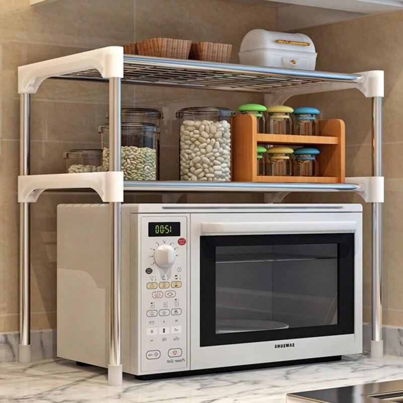 Adjustable:  Adjustable Steel Microwave Oven Shelf Detachable Rack Kitchen Tableware Shelves Home Bathroom Storage Rack Holder - Martin's & Co