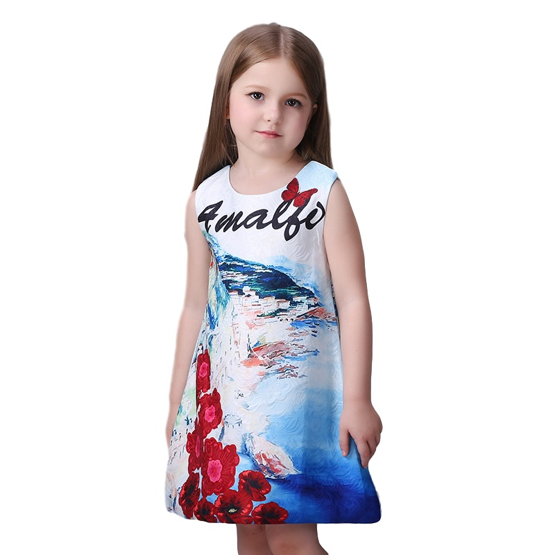 2016 New Arrived Milan Creations Girls Dress For Children Elegant Summer Clothes For Girls Age 3-11 12 Fashion Kids Dress Prom azel elegant latest new child dress for 2 3 year old girls vestidos fashion summer kid clothing little girls daily clothes 2017