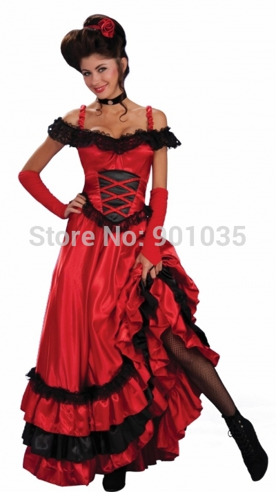 FREE SHIPPING LADIES SEXY SALOON GIRL WILD WEST BURLESQUE COWGIRL CAN CAN FANCY DRESS COSTUME