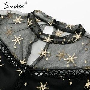 Image 5 - Simplee Mesh star print transparent lace dress women Hollow out long sleeve summer dress Streetwear short casual dress vestidos