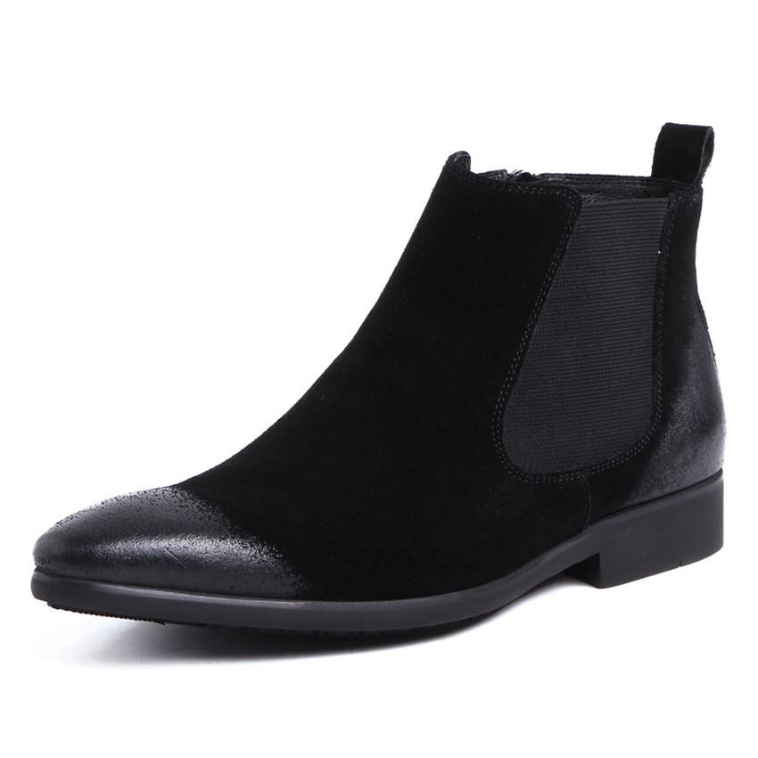 Hombres De Calidad Los Del marrón Hombre Montar Alta Cuero Zapatos La A Vaquero Mano Ymx488 Vendimia Punta Vaca Botines Ante Chelsea Hecha Negro YwdE0dqx8