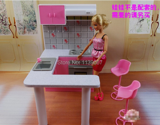 Doll cabinet set dollhouse kitchen cookhouse pink for Accessoire maison barbie