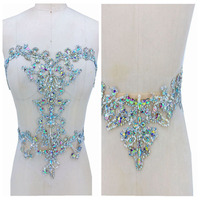 Handsewing clear AB colour/silver rhinestones applique on mesh handmade trim patches for wedding dress