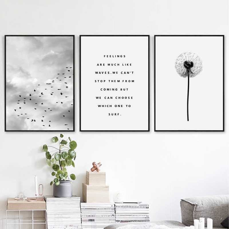 Nordic Landscape Quotes Canvas Painting Black White Poster Sky Print Natural Wall Art Picture for Living Room Home Decor