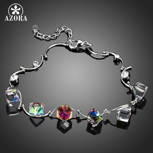 AZORA 6 stücke Allmähliche Änderung Farbe Cube Stellux Österreichischen Kristall Charm Armband TS0044