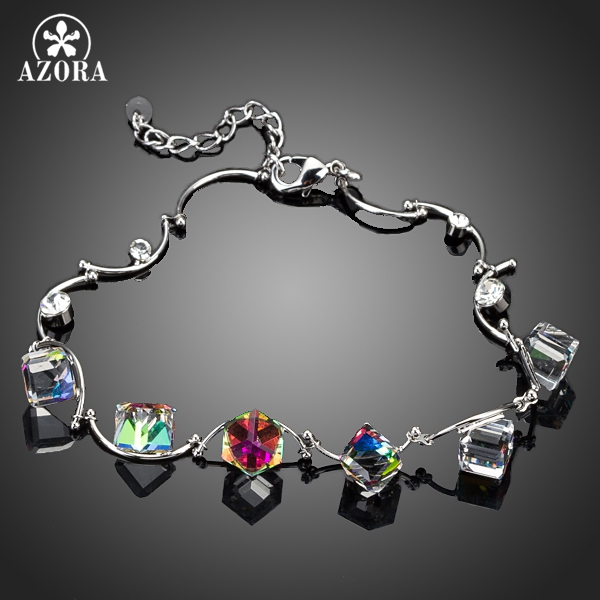 AZORA 6pcs Gradual change Color Cube Stellux Austrian Crystal Charm Bracelet TS0044