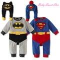 2015 Mamelucos Del Bebé de Franela Manga Larga de Superman Batman Ropa de Bebé + Sombrero Infantil Del Mono Del Bebé Ropa de Invierno
