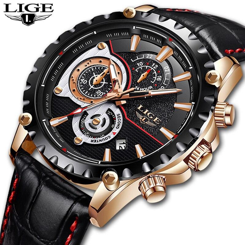 LIGE Montre hommes Top Marque De Luxe Quartz horloge hommes Montres de Sport Chronographe en cuir Imperméable À L'eau Montre de mode relogio masculino
