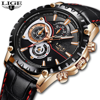 LIGE Watch Men Top Brand Luxury Quartz Clock Mens Watches Sports Chronograph Leather Waterproof Fashion Watch
