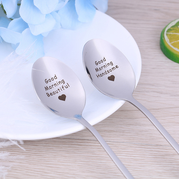 Stainless Steel Spoon Good morning handsome beautiful girlfriend present Gift for boyfriend valentines day gift anniversary