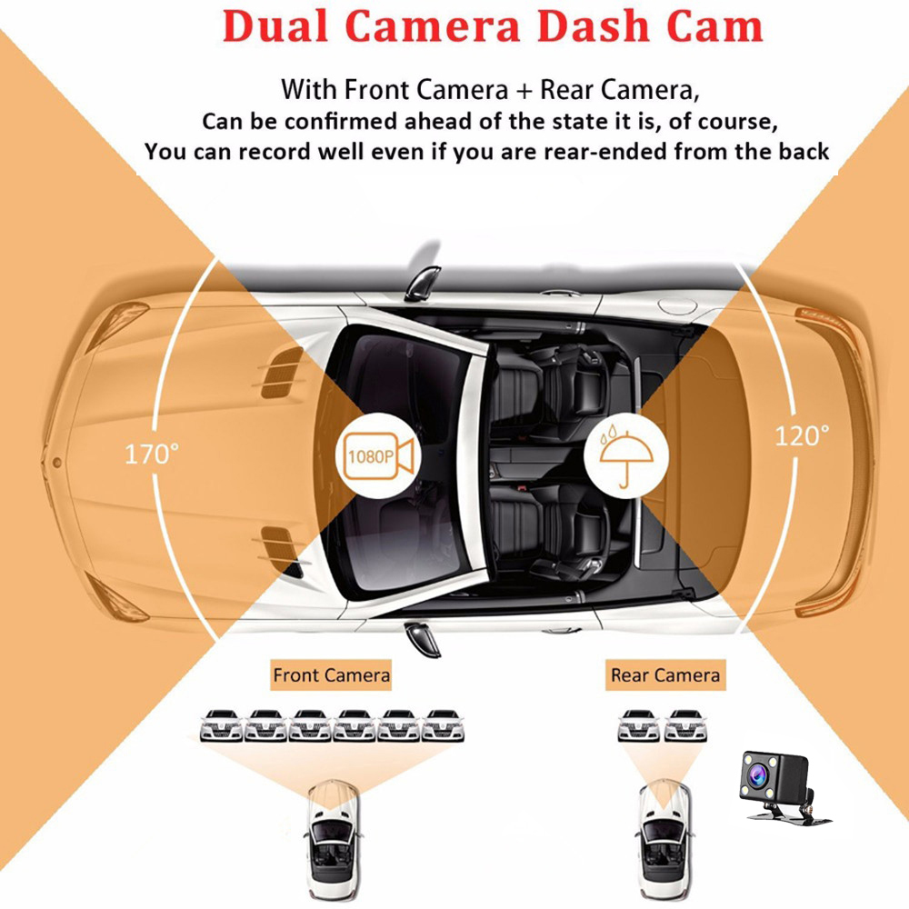 6Dash Cam New Dual Lens Car DVR Camera Full HD 1080P 4 IPS Front+Rear Mirror Night Vision Video Recorder Parking Monitor
