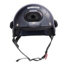 C6 Fibra De Carbono Capacete de Segurança com WIFI Camera & Telefone de Atendimento, 2 K Gravação De Vídeo com Controle de Aplicativo Móvel Gratuito & IP54 À Prova D' Água