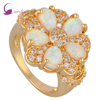 Fashion Rings For Women White Fire Opal 18k Gold Plated CZ Diamond Jewelry Ring Size 5