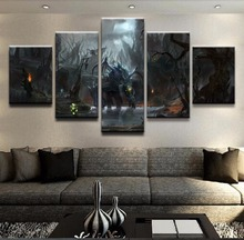 Modular Framed Print Canvas Wall Art Painting Popular 5 Panel DOTA 2 Roshan Creature Picture For Living Room Decor Game Poster
