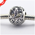 Fits Pandora Bracelets Vintage T Silver Beads with Clear CZ 100% 925 Sterling Silver Charms DIY Jewelry 11LE015-T