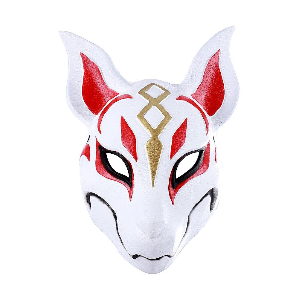 Carnival Masquerade Anime Cosplay Animal Pu Leather White Japanese Kitsune Fox Mask  halloween  anime cosplay