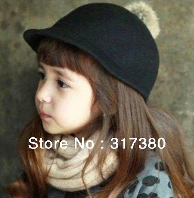 Wholesale 2017 Baby Winter Derby Wool Pom-pom Hats Boys Autumn Bowler Hat  Girls Felt Cap Children Spring Fedoras Infants Caps 189148ebbac