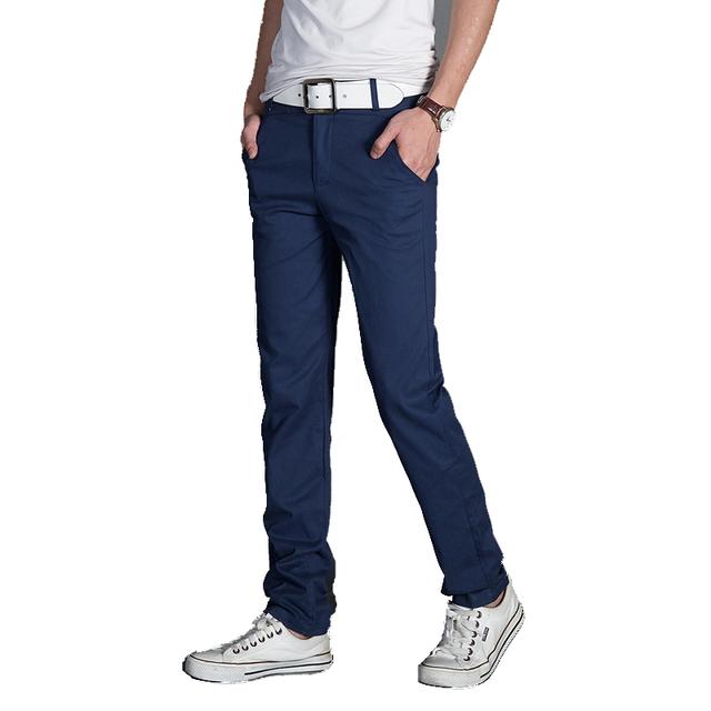 De aguas termales y el otoño 2016 de los hombres Rectos Delgados minimalista de alta elástica pies lavado de negocios pantalones casuales pantalones de gran tamaño