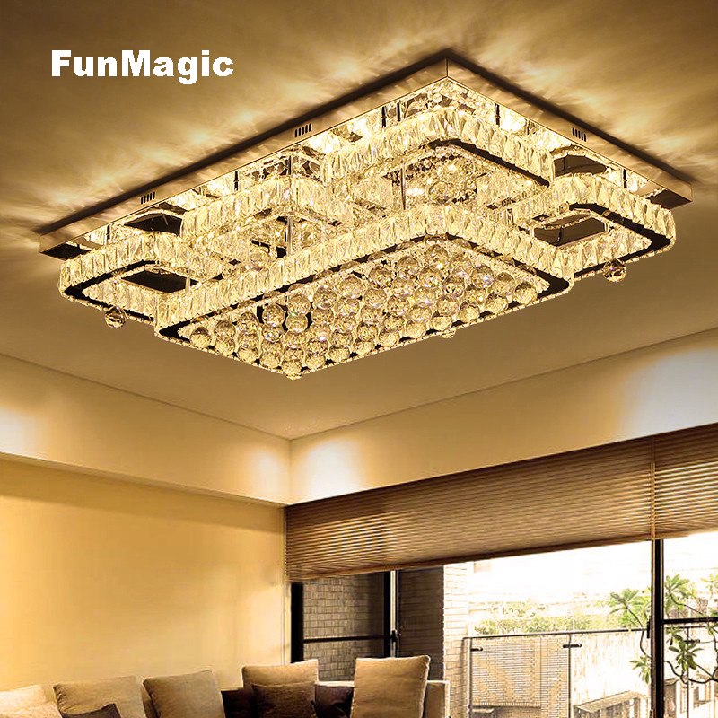 Modern Rectangular/Square LED Crystal Ceiling Light Living Room Lighting Hotel Fixture Bedroom LED Lamp Color Temperature Change