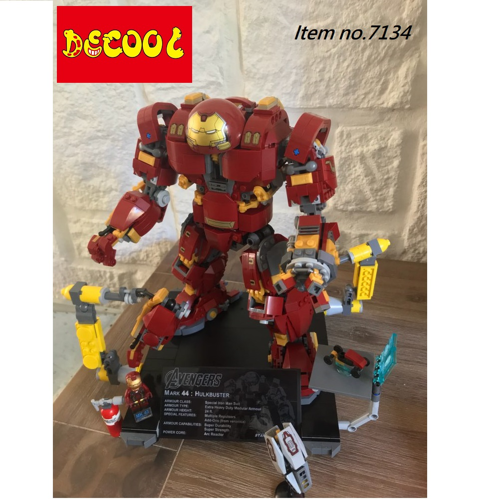 все цены на Decool 1363pcs MK43 Hulkbuster Building Blocks for lego Marvel Super Heroes 76105 Avengers Iron Hulk infinity war for minifigure