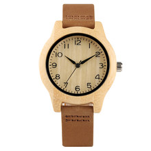 344d6a73d6cc Nuevas mujeres de bambú relojes números arábigos cuero genuino reloj del  cuarzo señoras relojes pulsera del Relogio Feminino
