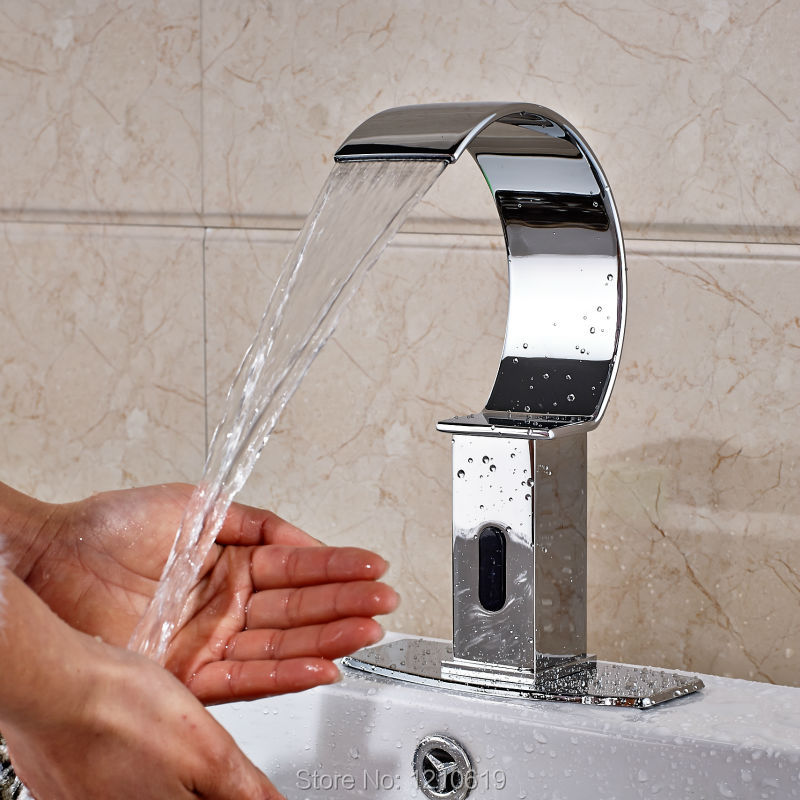 Newly Chrome Finish Bathroom Automatic Sensor Basin Faucet w/ Cover Plate Touchless Sink Tap Cold Water Tap