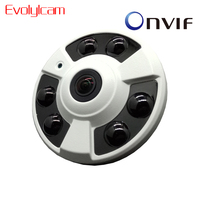 Evolylcam Fisheye 5MP 1920 P Cámara IP POE Onvif 5 Megapxiel Gran Angular HD Cámara de Infrarrojos de Alarma de La Cámara de Interior P2P CCTV cámara