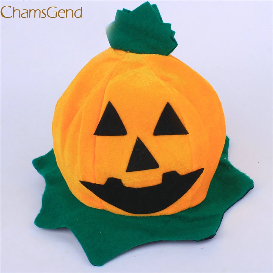 2017 A# Cos Halloween Pumpkin hat Pumpkin Motifs Lint Top Orange Hats
