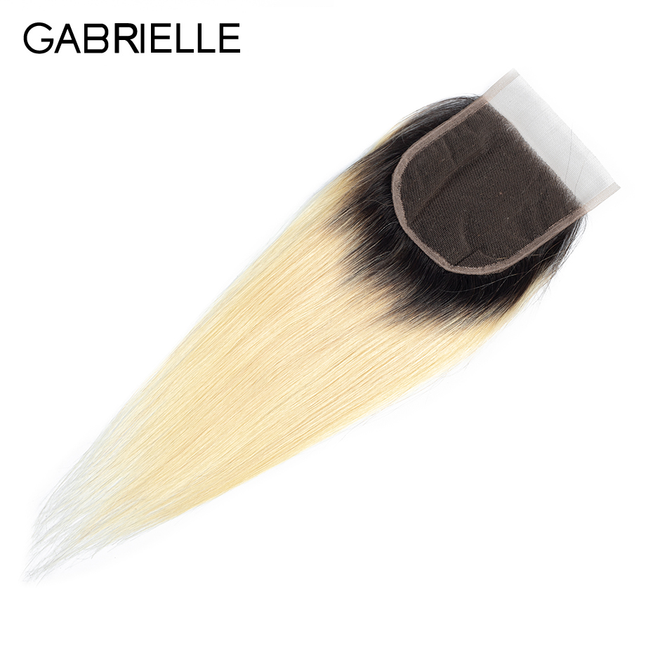 Gabrielle Lace Closure Ombre Hair Human-Hair-Extensions Straight Brazilian T1b/613-Blonde
