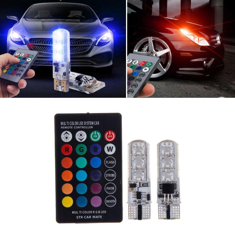 2x T10 RGB LED Car Wedge Reading Lamp Auto Interior Light+ Remote Control
