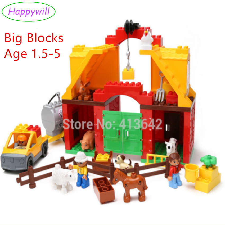 HappywBig Blocks 61pcs Happy Farm Set Baby Blocks Funny Animal Sence Play Building Blocks Educational Toys Compatible музыкальные игрушки potex синтезатор animal farm 8 клавиш 686b