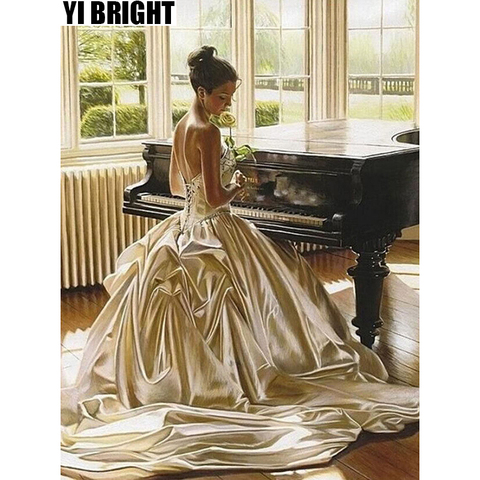 yi Brilhante Diy 3d Diamante Bordado Ponto Cruz Mulheres Bonitas Piano Mural Praça & Round Completo Pintura Diamante Home Decor gt