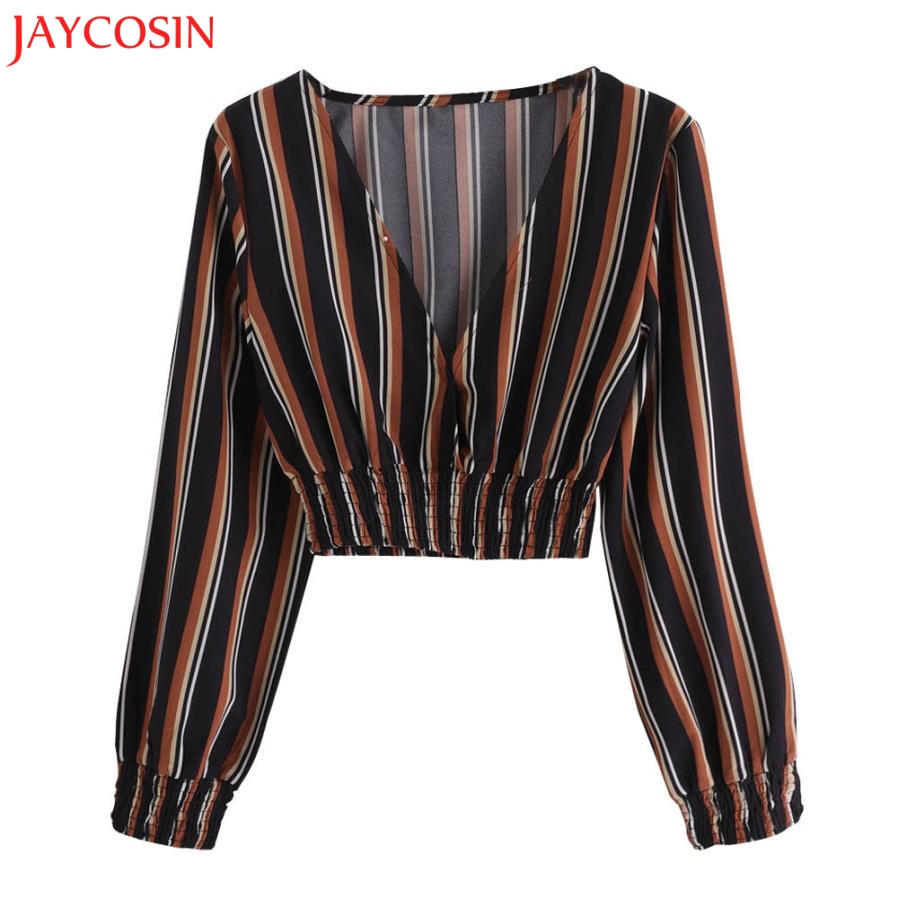 799f07d773ee15 JAYCOSIN Women Autumn Fashion V Neck Long Sleeve Striped Blouse Tops  Clothes blouses 2018 z0730