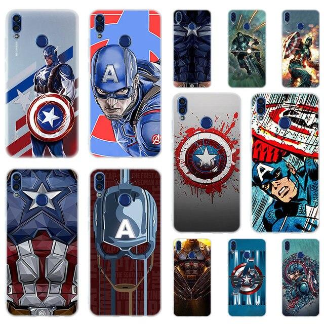 Marvel Herói Capitão América Silicone Suave Caso Capa Para O Huawei Honor 9 10 Lite 6X 7X 8X casos de Telefone Max 7A 8A 8C V20 JOGO 10i