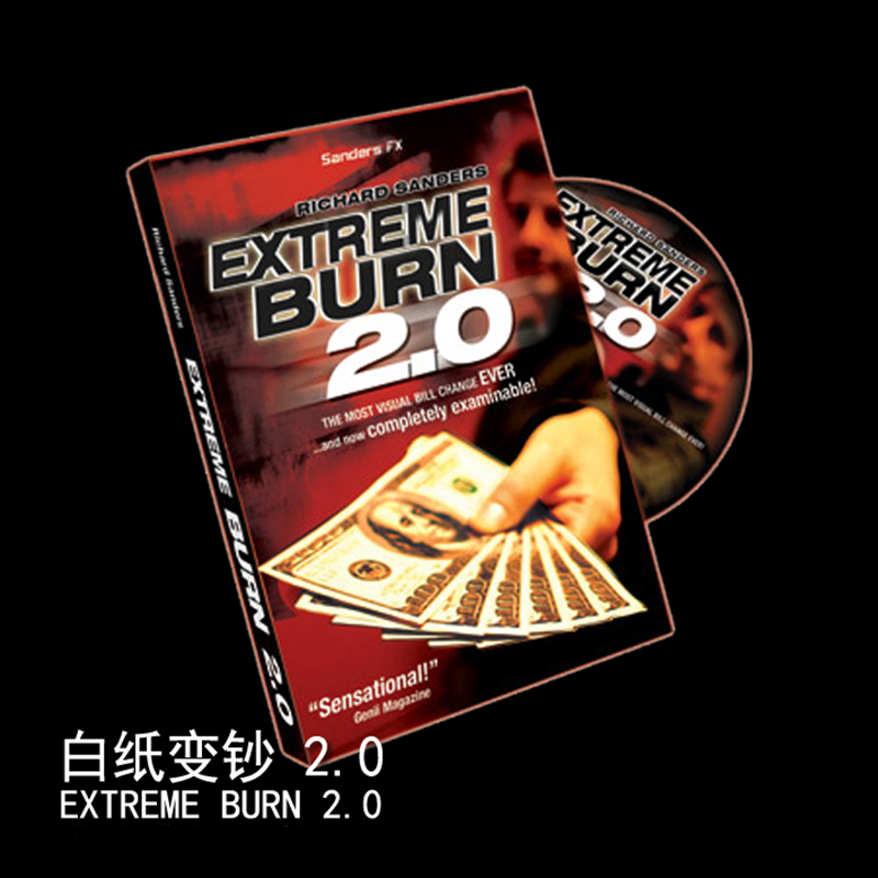 1 set Extreme Burn 2.0 (Gimmicks + DVD) trucuri magice bani Magic comedie aproape iluzii mentalism magic 83110