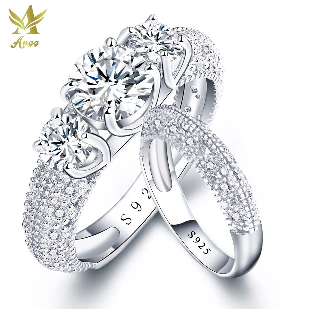 Angg Solid 925 Sterling Silver Ring Lab Cz Jewelry Wedding & Engagement  Ring Brand New Top