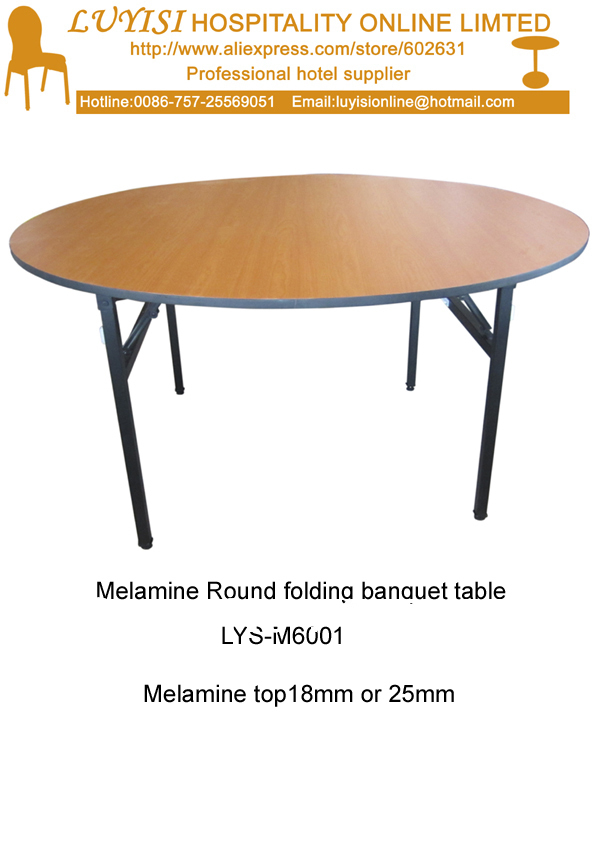 48D x 30H mm Folding banquet round table,Melamine top 18mm or 25mm,steel folding leg,2pcs/carton,fast delivery hotel round folding banquet table