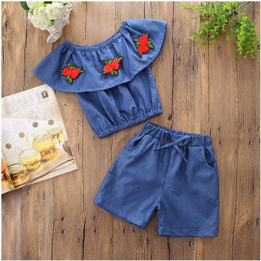 Summer Girls Clothes Sets Children's Clothing Fashion Girl Demin Top+Pants Suits Kids Clothing Sets For Girls Roupas De Menina