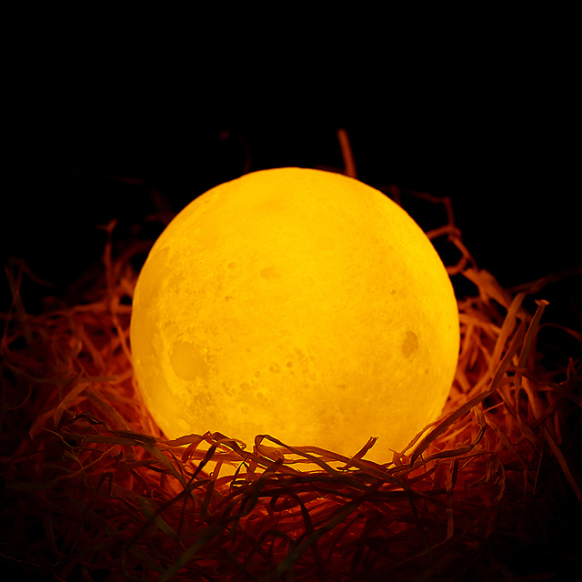 USB Rechargeable 3D Print Moon Lamp 2 Color Touch Bedroom table Night Light Decor blub Creative Gift Luminaria chargeable blub 4