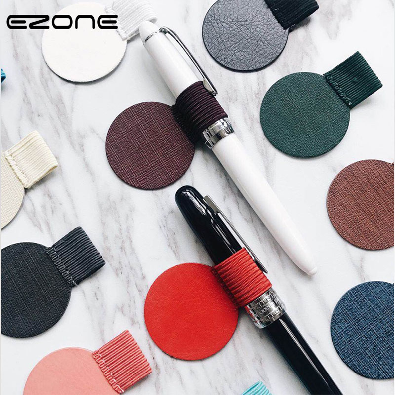 EZONE Self-Adhesive Notebook Pen Clip Snap Felt Fabric Notebook Pen Clip Office School Creative Stationery Pen Holder 6 Color