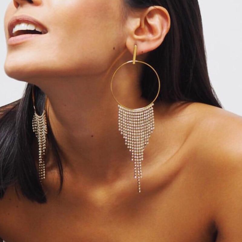 Rhinestone Tassel Earrings for Women 2018 Crystal Earrings For Women Luxury Jewelry Long Dangle Earring Party Gift