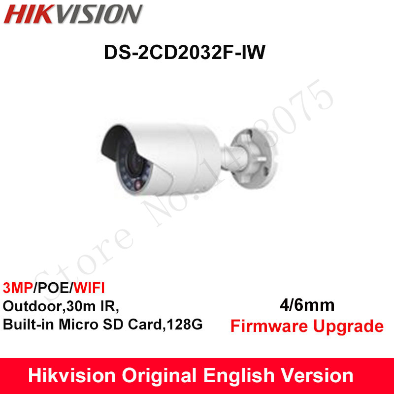 In Stock Hikvision English Security WIFI Camera DS-2CD2032F-IW 3MP CCTV Camera bullet IP Camera POE IP66 built in SD Card 128G hikvision ds 2de7230iw ae english version 2mp 1080p ip camera ptz camera 4 3mm 129mm 30x zoom support ezviz ip66 outdoor poe