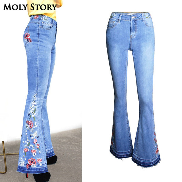 c020592804f New Blue 3D Flower Embroidery Flare Jeans Women High Waisted Jeans Ladies  Wide Leg Jeans Fringe Plus Size Denim Pants