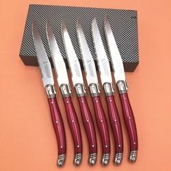 발생할 6 개 스테이크 나이프 스테인레스 스틸 칼 세트 레드 컬러 라귀이 욜 스타일의 식기 칼 레스토랑 설정