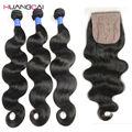 Peruano Onda Do Corpo Do cabelo virgem 4 pcs Com Fechamento fechamento base de seda com pacotes HC virgem onda do corpo do cabelo humano tece