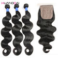 Peruvian virgin hair Body Wave 4pcs With Closure silk base closure with bundles HC body wave virgin human hair weaves