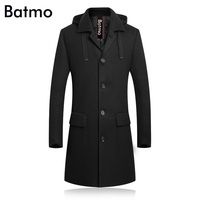 BATMO 2018 new arrival winter high quality wool thicked hooded trench coat men,men's winter Hat Detachable jackets 8029