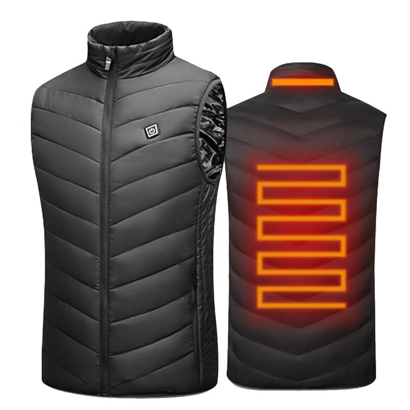USB Heated Vest Men Winter Electrical Heated Sleevless Jacket Travel Heating Vest Outdoor Waistcoat Hiking Heater Vests AM356Hiking Vests   -