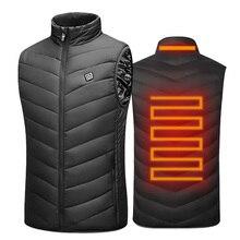 USB อุ่นเสื้อกั๊กผู้ชายฤดูหนาวไฟฟ้าอุ่น Sleevless เสื้อ Travel ความร้อนกลางแจ้ง Waistcoat เดินป่าเครื่องทำความร้อนเสื้อ AM356